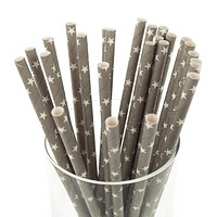 Star Paper Straws, 7-3/4-inch, 25-Piece, White/Silver