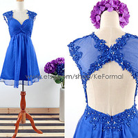 Short Lace Straps Royal Blue Cocktail Dresses, Lace Chiffon Short Prom Dresses with Open Back, Mini Prom Dresses