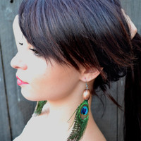 Peacock Feather Earrings - Feather Jewelry - Peacock Feathers - Beaded Earrings - Tribal Jewelry - Fashion Trends
