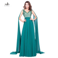 Prom Graduation Dresses Turquoise Lace Appliques with Beads V-neck Prom Gowns 2017 Vestido Longo Evening Gown A-line