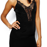 Black V-Neckline Low Cut Back Bodycon Cami Dress