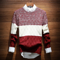 Men's Comfortable Long Sleeve Soft Striped Sweater