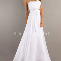 A-line Strapless Empire Floor-length White Chiffon Backless Prom Dresses/Party Dresses