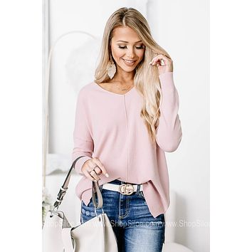 Keepin' Comfy Soft Knit Sweater Top | Baby Pink
