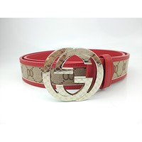 GUCCI Stylish and high-end joker belt cut smooth buckle belt