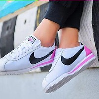 Onewel Nike Classic Cortez Forrest Sports Shoes Classic Shoes Leisure Sneakers White pink tail