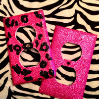 Glittered Cheetah Light Switch & Raspberry Outlet Cover Set