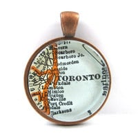 Toronto, Canada, Pendant from Vintage Map, in Glass Tile Circle