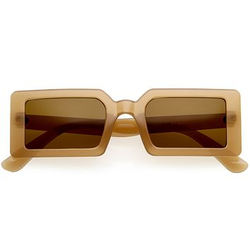 Retro 90s Rectangular Neutral Colored Square Sunglasses D177