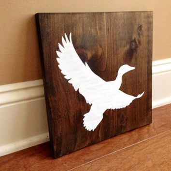 Duck Silhouette Wood Sign, Custom Duck Sign, Stained and Hand Painted, Choose Colors, Duck decor, Cabin decor, Hunting decor
