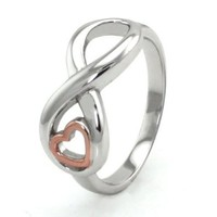 Sterling Silver Infinity Ring w/ Rose Gold Heart - Available Size: 5, 5.5, 6, 6.5, 7, 7.5, 8, 8.5, 9, 9.5, 10: Jewelry: Amazon.com