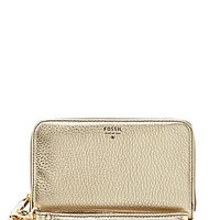 Fossil Sydney Metallic Zip Phone Wallet - Gold Metallic