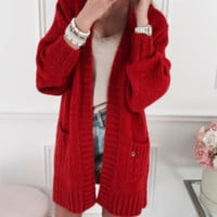 Explosive models long cardigan sweater sweater