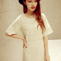 Khaki Short Sleeved Dress with Back Bow