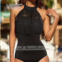 New Lace One Piece Swimsuit Swimwear women monokini plus size swimwear women swim wear bathing suit size S M L XL XXL