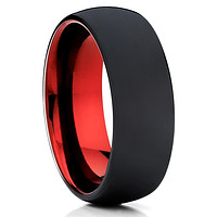 Red Tungsten Ring - Tungsten Wedding Ring - Matte Polish Ring - Men's Ring