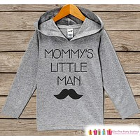 Kids Mother's Day Outfit - Kids Hoodie - Mommy's Little Man - Mustache Children's Pullover - Grey Toddler Hoodie - Infant Childrens Hoodie