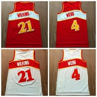 High Quality 21 Dominique Wilkins Jersey Throwback 4 Spud Webb Jersey Retro Basketall Jersey Uniforms Rev 30 New Material Red White Shirts