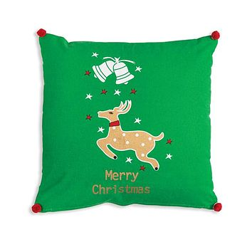 Merry Christmas Reindeer Cotton Throw Pillow
