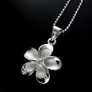 SILVER 925 HAWAIIAN FANCY PLUMERIA PENDANT RHODIUM 12MM
