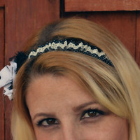 Shabby chic black and white lace ruffle headband for women and teen girls