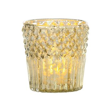 Vintage Mercury Glass Candle Holder (3-Inch, Ophelia Design, Gold) - For Use with Tea Lights