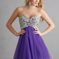 Night Moves 7204 - Purple Strapless Tulle Homecoming Dresses Online