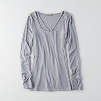 Don't Ask Why V-neck Long Sleeve T-Shirt, Blue