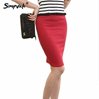 SIMPVALE New Sexy Chic Pencil Skirts Women Office Mid Waist Solid Skirt Casual Slim Hip Placketing Chic Pencil Skirts