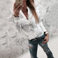 Printed Letter V Neck Shirt Long Sleeve T Shirts Pullover Tee Shirt Tops Blouse Fashion Women Clothes Drop Ship