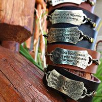 Leather and Stamped Metal Cuff