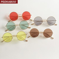 Peekaboo vintage round sun glasses for men retro woman summer clear lens sunglasses with red lenses yellow green uv400
