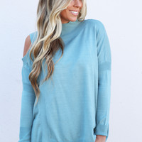 Give 'Em The Cold Shoulder Knit {Sage}