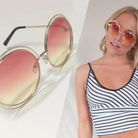 Pink Gradient Oversized Round Sunglasses with rose yellow fade lenses Designer Style Bugeye gold framed pink yellow fade Sunnies 1960s 70s