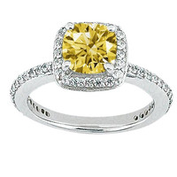 Yellow canary cushion diamond 3.71 carats wedding ring white gold 14K jewelry