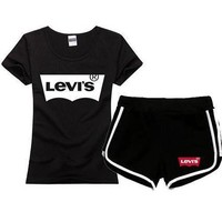 Levi's Women Men Fashion Cotton Sport Shirt Shorts Set Two-Piece Sportswear