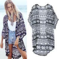 Olrain 2016 Summer Women Boho Hippie Cape Jacket Kimono Cardigan 3/4 Sleeve Casual Loose Long Tops Blouse