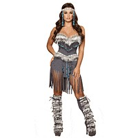 Sexy Native Girl Corset And Fringe Shorts Halloween Costume