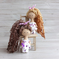 30 % OFF! Rag doll in pajamas, Doll in white pajamas, textile doll, doll brown hair, gift for Christmas, gift for girls