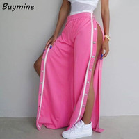 Women Side Button Pants High Split Wide Leg Pants Trousers 2017 Casual Pink Palazzo Pants Summer Cool Street Pantalones Palazzo