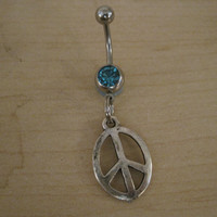 Belly Button Ring - Body Jewelry - Silver Peace Sign with Lt. Blue Gem Stone Belly Button Ring