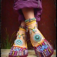 Striped LOTUS Canvas SHOES Espadrilles Flats Blue Lotus Hand painted shoes tribal Mexican women shoes Beaded american indian Cotton slippers
