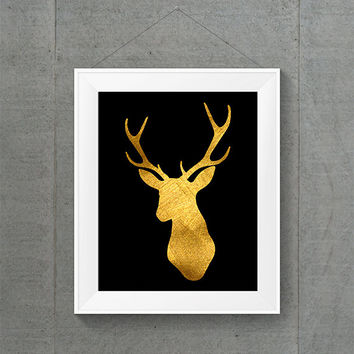 Gold Foil Deer Head Print, Gold Nursery Art, Woodland Animal Art, Gold Home Decor, Gold Wall Art, Gold Baby Art, Forest Animal Art, Deer Art