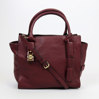 Michael Kors McKenna Maroon Leather Medium Satchel