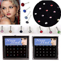 24Pcs Crystal Stainless Steel Round Nose Ring Bone Stud Body Piercing Jewelry BD