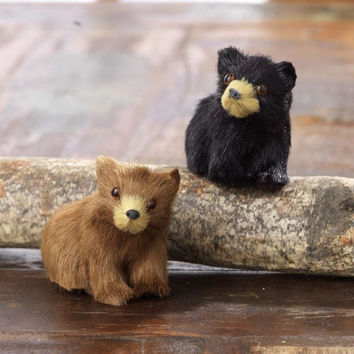 Christmas Cabin Brown and Black Bear Holiday Ornaments 2-in
