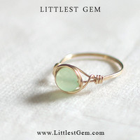 Mint Jade Ring - wire wrapped jewelry handmade - wire wrapped ring - unique rings - custom
