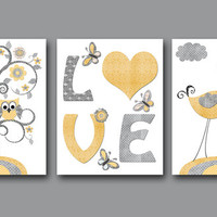 "Baby Boy Nursery art print Children Wall Art Baby Room Decor Kids Print set of 3 11"" x 14"" tree bird owl love yellow grey"