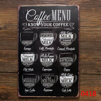 Vintage metal poster print crafts home wall decoration Tin signs retro painting Coffee Menu know your coffee