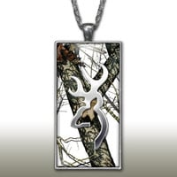 White Snow Camo Pendant Charm Necklace Deer Head Browning Country Girl Custom Necklace Hunting Silver Plated Jewelry